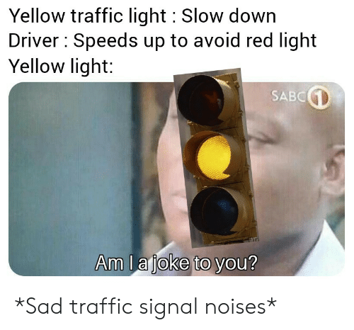 Traffic, Sad, and Red: Yellow traffic light Slow down  Driver Speeds up to avoid red light  Yellow light:  SABC  Am la joke to you? *Sad traffic signal noises*