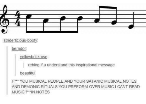Understandment: yellowbrickrose:  reblog if u understand this inspirational message  beautiful  F*** YOU MUSICAL PEOPLE AND YOUR SATANIC MUSICAL NOTES  AND DEMONIC RITUALS YOU PREFORM OVER MUSICI CANT READ  MUSIC f IN NOTES