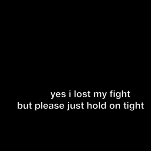 Just Hold On: yes i lost my fight  but please just hold on tight