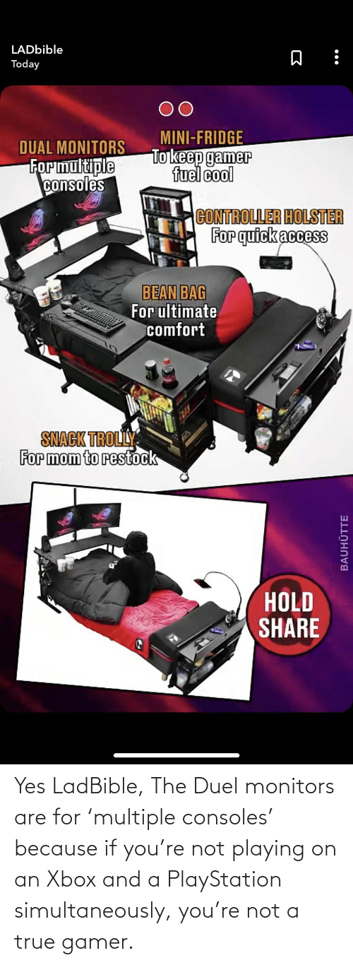 PlayStation: Yes LadBible, The Duel monitors are for 'multiple consoles' because if you're not playing on an Xbox and a PlayStation simultaneously, you're not a true gamer.