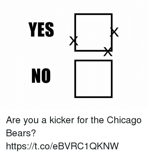 Chicago Bears: YES  NO Are you a kicker for the Chicago Bears? https://t.co/eBVRC1QKNW