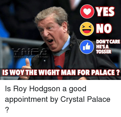 roy hodgson: YES  NO  DONTCARE  HESA  TOSSER  IS WOY THE WIGHT MAN FOR PALACE? Is Roy Hodgson a good appointment by Crystal Palace ?