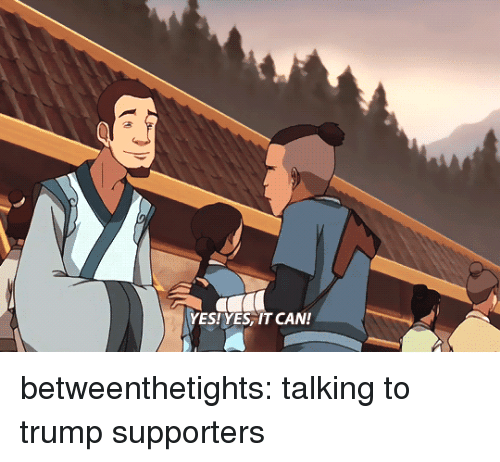 Trump Supporters: YES!YES, IT CAN! betweenthetights:  talking to trump supporters