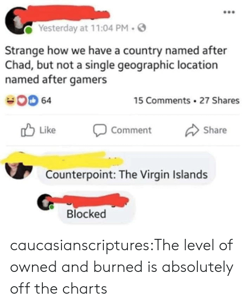 Geographic: Yesterday at 11:04 PM.  Strange how we have a country named after  Chad, but not a single geographic location  named after gamers  00 64  15 Comments 27 Shares  Like Comment Share  Counterpoint: The Virgin Islands  Blocked caucasianscriptures:The level of owned and burned is absolutely off the charts