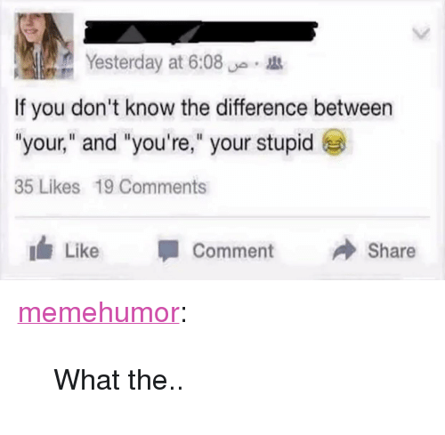 "Youre Your: Yesterday at 6:08  If you don't know the difference between  ""your,"" and ""you're,"" your stupid  35 Likes 19 Comments  Like Comment Share <p><a href=""http://memehumor.net/post/171378813018/what-the"" class=""tumblr_blog"">memehumor</a>:</p>  <blockquote><p>What the..</p></blockquote>"