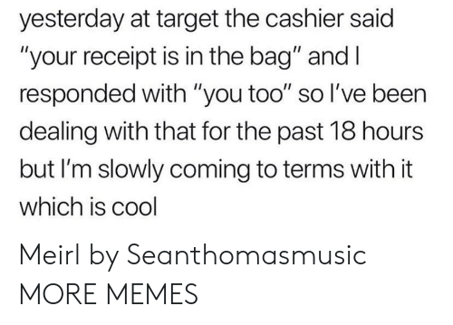 """Dank, Memes, and Target: yesterday at target the cashier said  """"your receipt is in the bag"""" and I  responded with """"you too"""" so I've been  dealing with that for the past 18 hours  but I'm slowly coming to terms with it  which is cool Meirl by Seanthomasmusic MORE MEMES"""