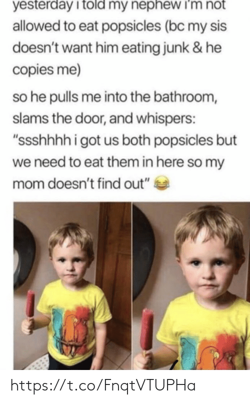 "Memes, Mom, and 🤖: yesterday i told my nephew i'm not  allowed to eat popsicles (bc my sis  doesn't want him eating junk & he  copies me)  so he pulls me into the bathroom,  slams the door, and whispers:  ""ssshhhhigot us both popsicles but  we need to eat them in here so my  mom doesn't find out"" https://t.co/FnqtVTUPHa"