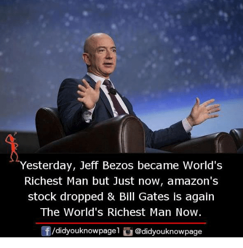 Man Buts: Yesterday, Jeff Bezos became World's  Richest Man but Just now, amazon's  stock dropped & Bill Gates is again  The World's Richest Man Now.  団/d.dyouknowpage1 @didyouknowpage