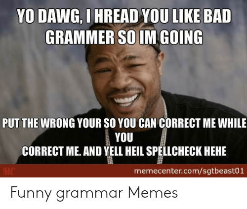 Grammar Memes: YO DAWG, I HREAD YOU LIKE BAD  GRAMMER SO IM GOING  PUT THE WRONG YOUR SO YOU CAN CORRECT ME WHILE  YOU  CORRECT ME. AND YELL HEIL SPELLCHECK HEHE  memecenter.com/sgtbeast01 Funny grammar Memes