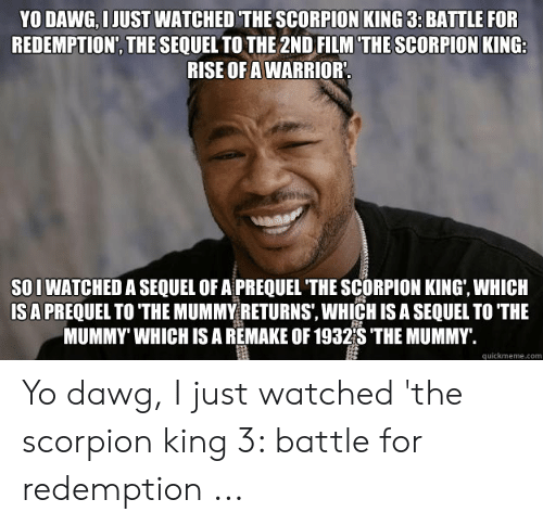 The Mummy Meme: YO DAWG, I JUST WATCHED THE SCORPION KING 3: BATTLE FOR  REDEMPTION, THE SEQUEL TO THE 2ND FILM THE SCORPION KING  RISE OFA WARRIOR  SO I WATCHED A SEQUEL OF A PREQUEL THE SCORPION KING, WHICH  ISA PREQUEL TO THE MUMMY RETURNS, WHICH IS A SEQUEL TO THE  MUMMY' WHICH IS A REMAKE OF 1932S 'THE MUMMY.  quickmeme.com Yo dawg, I just watched 'the scorpion king 3: battle for redemption ...