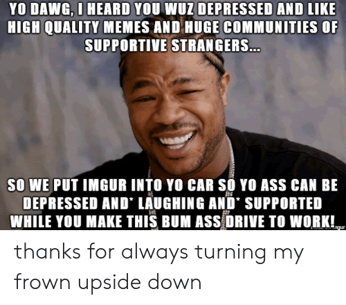 dawg: YO DAWG, O HEARD YOU WUZ DEPRESSED AND LIKE  HIGH QUALITY MEMES AND HUGE COMMUNITIES OF  SUPPORTIVE STRANGERS...  SO WE PUT IMGUR INTO YO CAR SO YO ASS CAN BE  DEPRESSED AND LAUGHING AND' SUPPORTED  WHILE YOU MAKE THIS BUM ASS DRIVE TO WORK!  ngur thanks for always turning my frown upside down