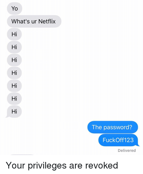Netflix, Relationships, and Texting: Yo  What's ur Netflix  Hi  Hi  Hi  Hi  Hi  Hi  Hi  The password?  FuckOff 123  Delivered Your privileges are revoked
