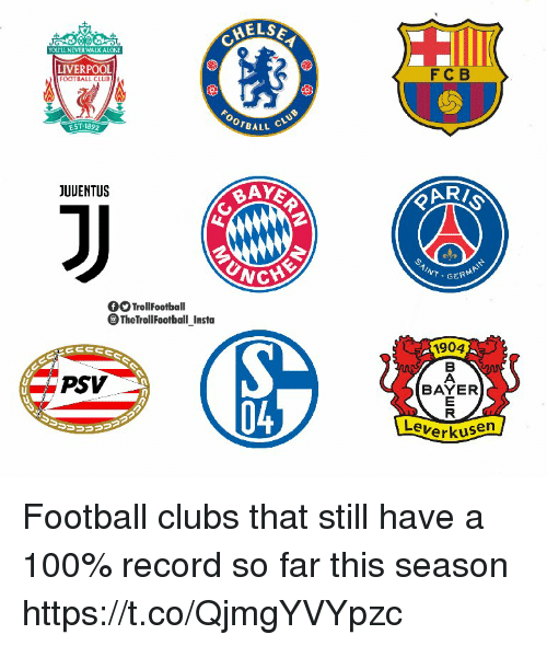Anaconda, Club, and Football: YOLULL NEVER WALK ATONE  LIVERPOOL  FOOT BALL CLUB  FC B  EST-1892  OrBALL C  JUUENTUS  GERM  TrollFootball  TheTrollFootball Insta  i904  PSV  BAYER  04  Leverku  en Football clubs that still have a 100% record so far this season https://t.co/QjmgYVYpzc