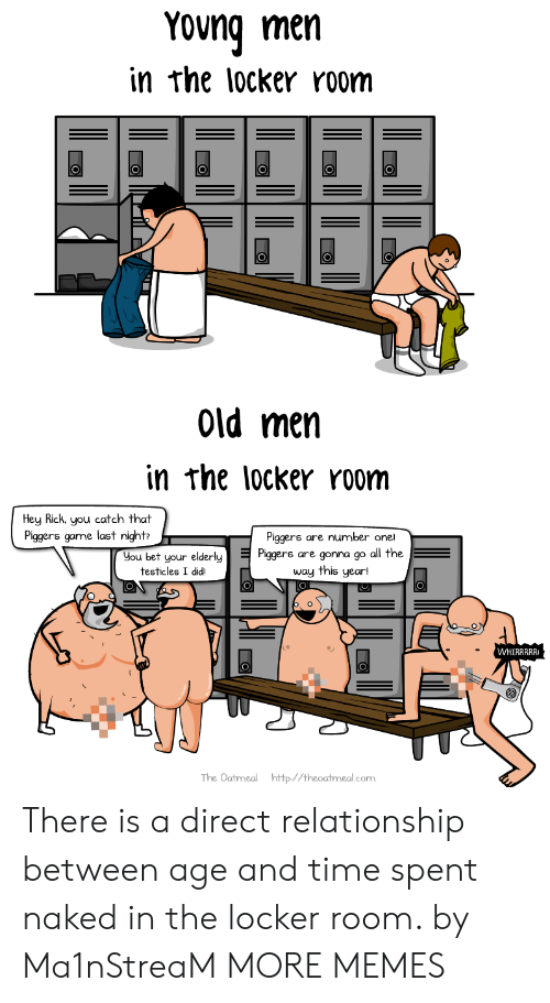 testicles: Yong men  in rhe locker room  Old men  in rhe locker room  Hey Rick. you catch that  Piggers game last night  Piggers are number one!  Hou bet your elderlys are gonna go a  all the  testicles I didiı  The Oatmeal http//theoatmeal.com There is a direct relationship between age and time spent naked in the locker room. by Ma1nStreaM MORE MEMES