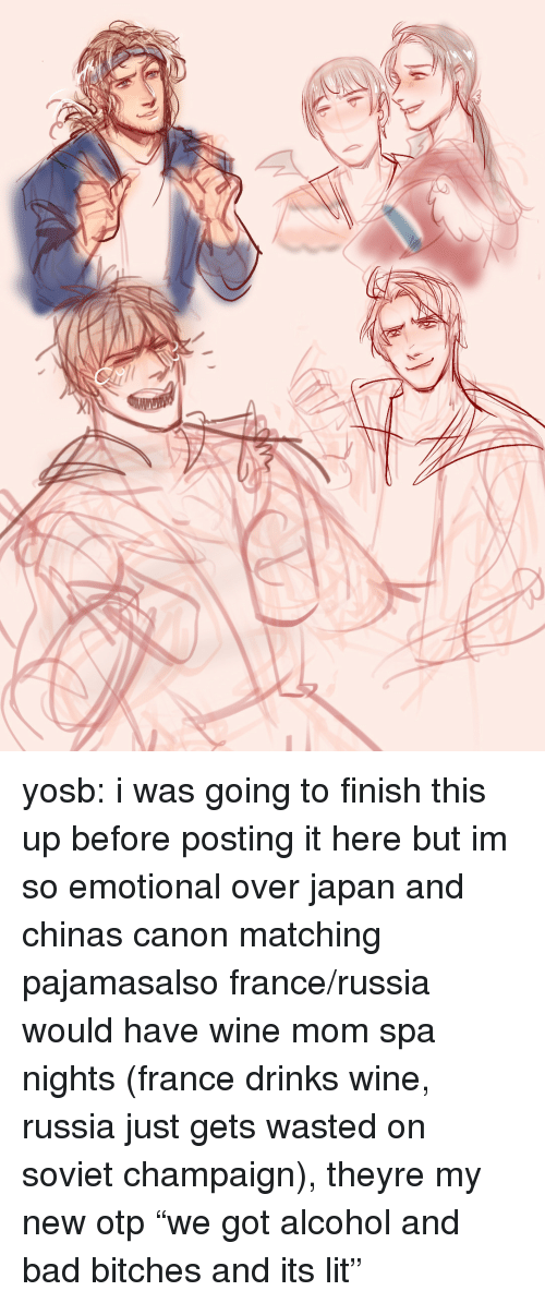 "It's lit: yosb:  i was going to finish this up before posting it here but im so emotional over japan and chinas canon matching pajamasalso france/russia would have wine mom spa nights (france drinks wine, russia just gets wasted on soviet champaign), theyre my new otp ""we got alcohol and bad bitches and its lit"""