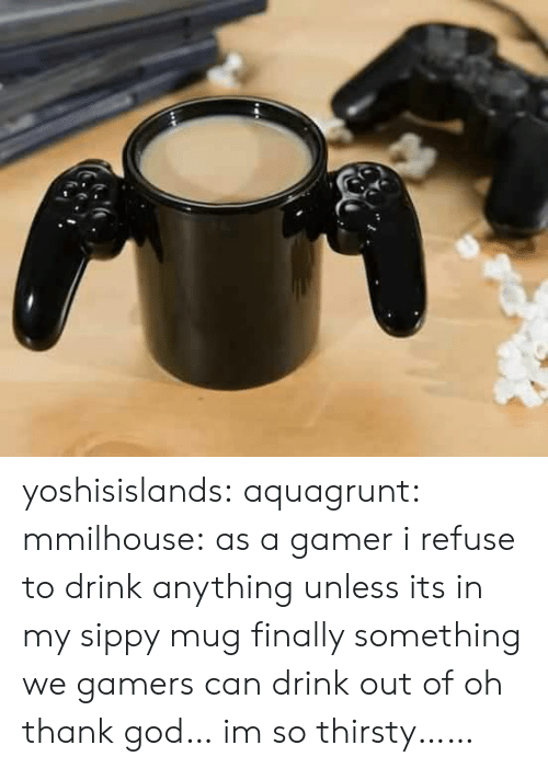 Oh Thank God: yoshisislands: aquagrunt:  mmilhouse:  as a gamer i refuse to drink anything unless its in my sippy mug  ​finally something we gamers can drink out of  oh thank god… im so thirsty……