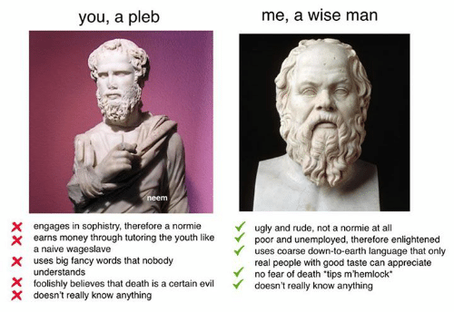 fanciness: you, a pleb  me, a Wise man  neem  X engages in sophistry, therefore a normie  ugly and rude, not a normie at all  earns money through tutoring the youth like  poor and unemployed, therefore enlightened  a naive wageslave  uses coarse down-to-earth language that only  X uses big fancy words that nobody  real people with good taste can appreciate  understands  Y no fear of death 'tips m'hemlock  X foolishly believes that death is a certain ev  doesn't really know anything  X doesn't really know anything