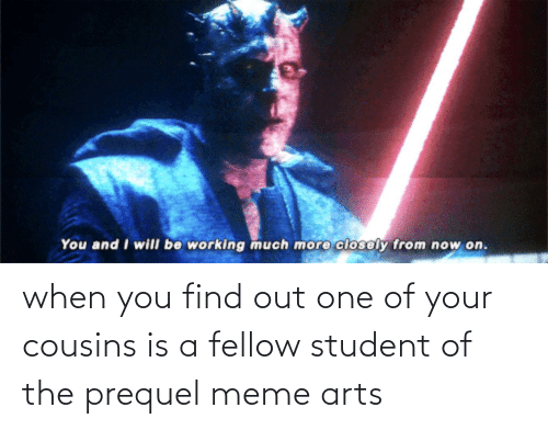 Meme, Arts, and Working: You and I will be working much more closely from now on. when you find out one of your cousins is a fellow student of the prequel meme arts