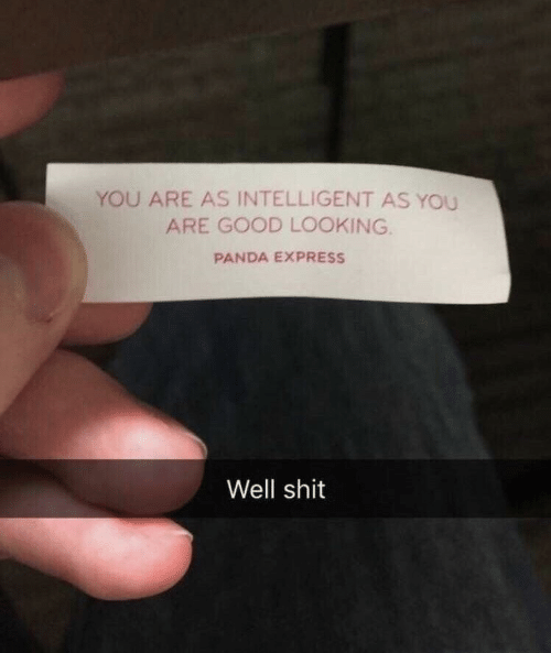 good looking: YOU ARE AS INTELLIGENT AS YOU  ARE GOOD LOOKING.  PANDA EXPRESS  Well shit