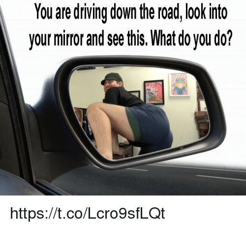 Driving, Mirror, and The Road: You are driving down the road, look into  your mirror and see this. What do you do?  Go  VS. https://t.co/Lcro9sfLQt