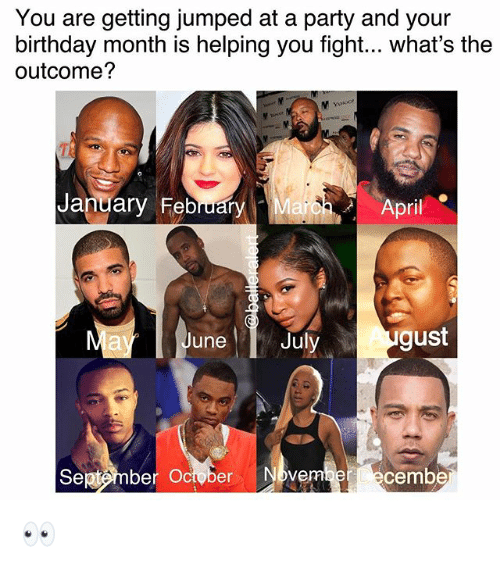 Birthday, Memes, and Party: You are getting jumped at a party and your  birthday month is helping you fight... what's the  outcome?  January February  arbh- April  June  Juy gust  Sej«tmber October Nbvem  ecembe 👀