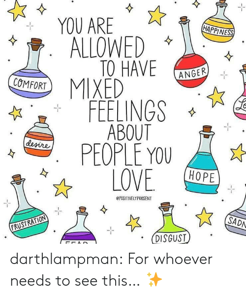 Tumblr, Blog, and Hope: YOU ARE  HAPPINES) .  ALLOWED  TO HAVE NGEE  FEELINGS  PEOPLE YOU  ANGER  COMFORT  HOPE  ePOSITIVELYPRESENT  SADN  FRUSTRATION  DISGUST darthlampman:  For whoever needs to see this… ✨