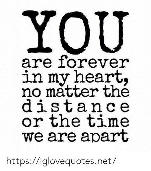 Heart, Time, and Net: YOU  are iorever  in my heart,  no matter the  distance  or the time  we are apart https://iglovequotes.net/