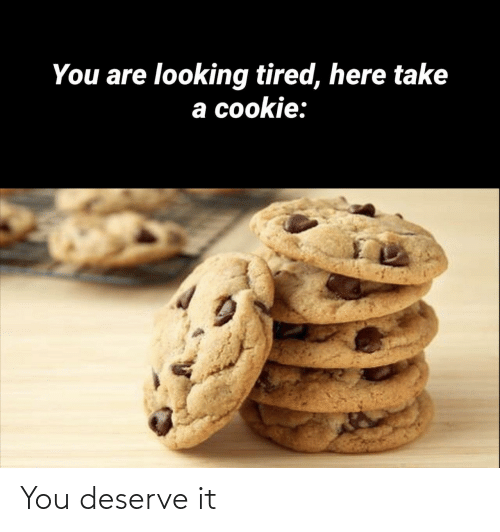 cookie: You are looking tired, here take  a cookie: You deserve it
