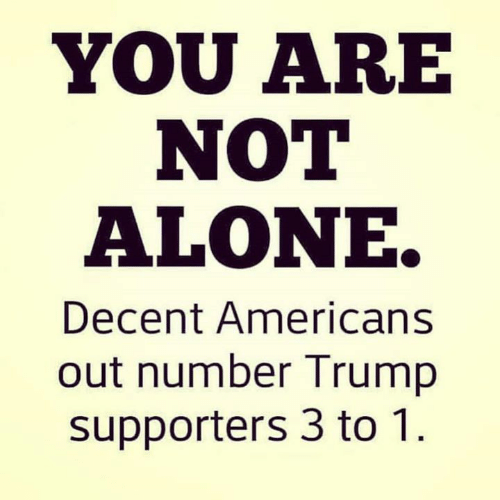Being Alone, Trump, and You: YOU ARE  NOT  ALONE.  Decent Americans  out number Trump  supporters 3 to 1