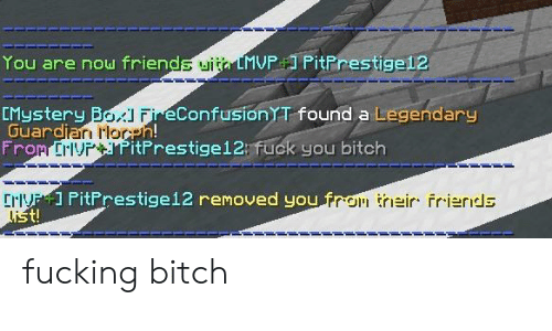 Crv: You are now friends uita LMVP PitPrestige12  CMystery Bo FieConfusionT found a Legendary  Guardian Horeh!  From ErlvPitPrestige12: fuck you bitch  CrV ] PitPrestige12 removed you fron their frierids  list! fucking bitch