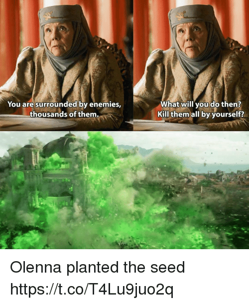 Thousands Of Them: You are surrounded by enemies,  thousands of them  What will you do then?  Kill them all by yourself? Olenna planted the seed https://t.co/T4Lu9juo2q