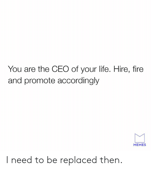 accordingly: You are the CEO of your life. Hire, fire  and promote accordingly  MEMES I need to be replaced then.