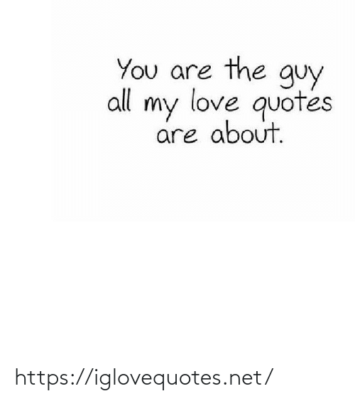The Guy: You are the guy  all my love quotes  are about. https://iglovequotes.net/