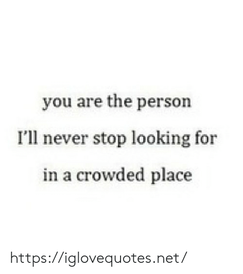 Never, Net, and Looking: you are the person  Ill never stop looking for  in a crowded place https://iglovequotes.net/