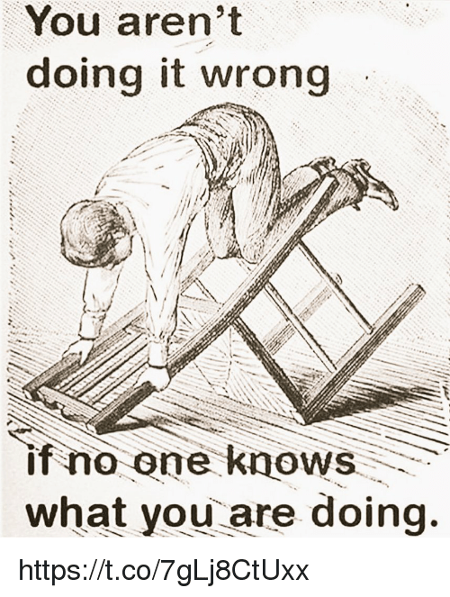 Doing It Wrong: You aren't  doing it wrong  if no one knows  what you are doing. https://t.co/7gLj8CtUxx