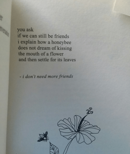 Friends, Flower, and How: you ask  if we can still be friends  i explain how a honeybee  does not dream of kissing  the mouth of a flower  and then settle for its leaves  i don't need more friends