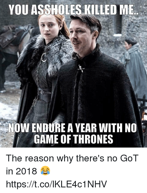 Game of Thrones, Memes, and Game: YOU ASSHOLES KILLED MB  NOW ENDURE A YEAR WITH NO  GAME OF THRONES The reason why there's no GoT in 2018 😂 https://t.co/lKLE4c1NHV