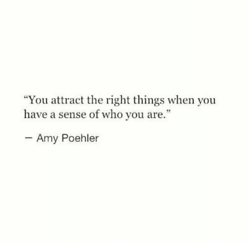 "amy: ""You attract the right things when you  have a sense of who you are.""  - Amy Poehler"