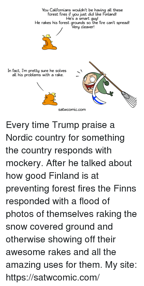 Dank, Fire, and Good: You Californians wouldn't be having all these  forest fires if you just did like Finland!  He's a smart guy!  He rakes his forest grounds so the fire can't spread!  ery cleaver!  In fact, I'm pretty sure he solves'  all his problems with a rake.  satwcomic.comm Every time Trump praise a Nordic country for something the country responds with mockery. After he talked about how good Finland is at preventing forest fires the Finns responded with a flood of photos of themselves raking the snow covered ground and otherwise showing off their awesome rakes and all the amazing uses for them.  My site: https://satwcomic.com/