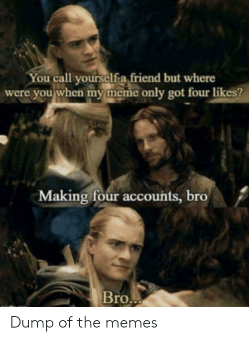 Meme, Memes, and Got: You call yourselfa friend but where  were you when my meme only got four likes?  Making four accounts, bro  Bro.. Dump of the memes