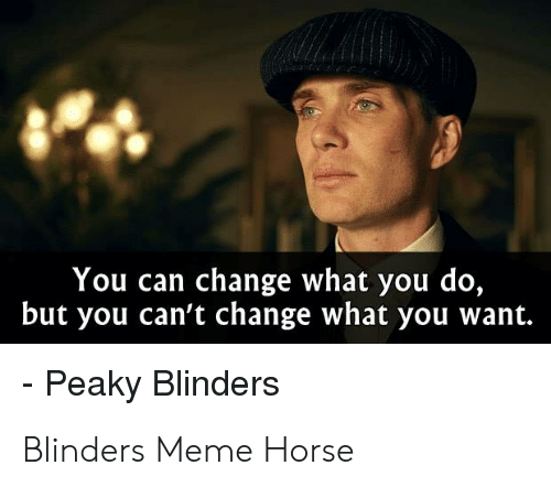 Meme Horse: You can change what you do,  but you can't change what you want.  - Peaky Blinders Blinders Meme Horse