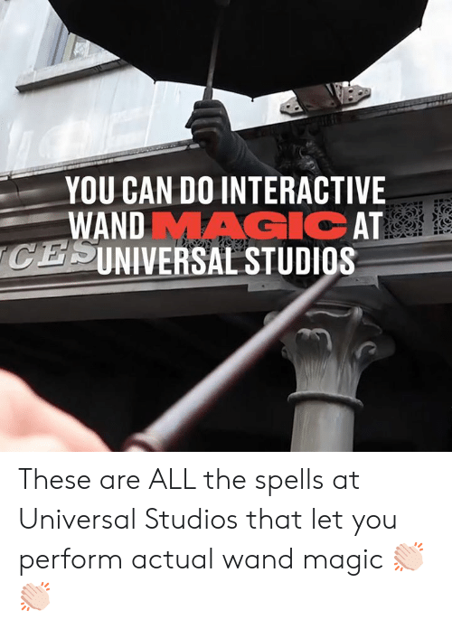 Perform: YOU CAN DO INTERACTIVE  WANDMAGIC AT  CESINIVERSAL STUDIOS  SEVACE These are ALL the spells at Universal Studios that let you perform actual wand magic 👏🏻👏🏻