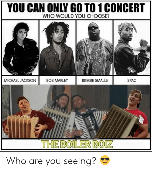 Biggie Smalls, Bob Marley, and Dank: YOU CAN ONLY GO TO 1 CONCERT  WHO WOULD YOU CHOOSE?  MICHAEL JACKSON!  BOB MARLEY  BIGGIE SMALLS  2PAC  THE BOILER BO Who are you seeing? 😎