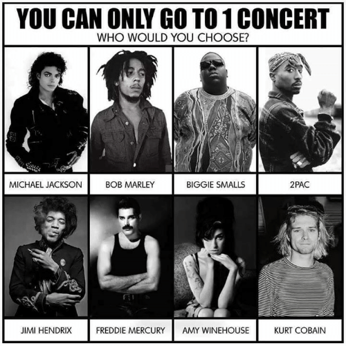 Biggie Smalls, Bob Marley, and Funny: YOU CAN ONLY GO TO 1 CONCERT  WHO WOULD YOU CHOOSE?  BIGGIE SMALLS  MICHAEL JACKSON  BOB MARLEY  2PAC  KURT COBAIN  JIMI HENDRIX  FREDDIE MERCURY  AMY WINEHOUSE
