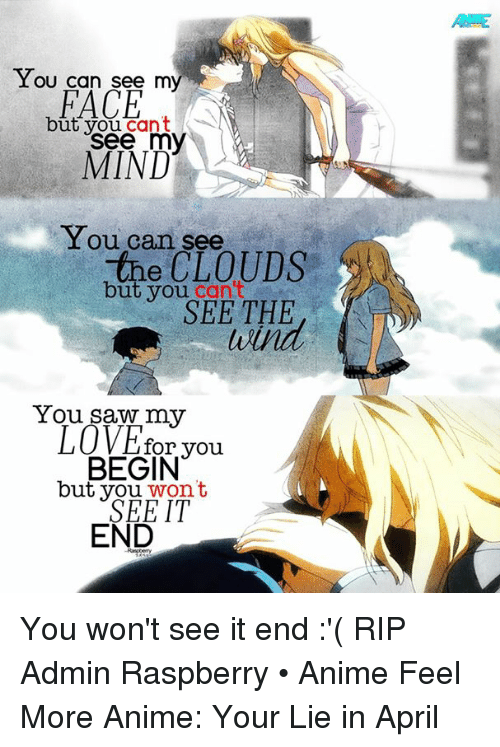 animal feelings: You can see my  FACE  ut you cant  see my  MIND  You can see  the CLOUDS  but you  can t  SEE THE  You saw my  LOVE for you  BEGIN  but you  wont  IT  END You won't see it end :'( RIP  Admin Raspberry • Anime Feel More Anime: Your Lie in April