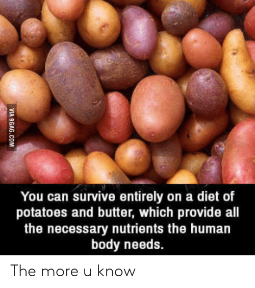 Diet, All The, and Human: You can survive entirely on a diet of  potatoes and butter, which provide all  the necessary nutrients the human  body needs. The more u know