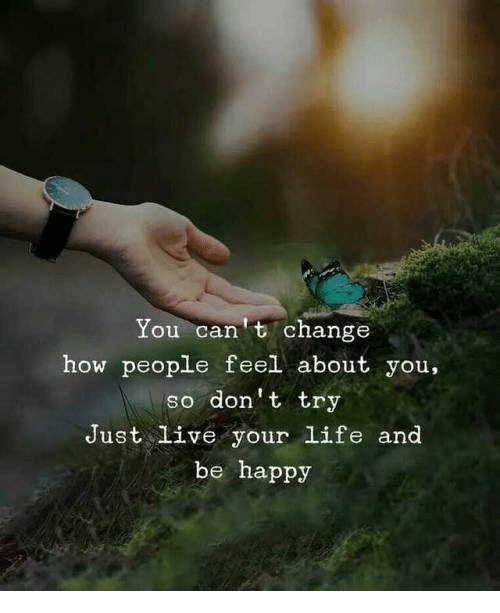 live your life: You can t change  how people feel about you,  so don't try  Just live your life and  be happy