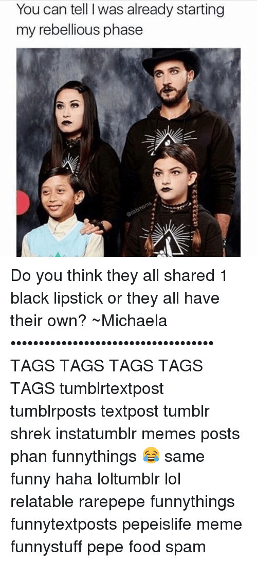 meme post: You can tell I was already starting  my rebellious phase Do you think they all shared 1 black lipstick or they all have their own? ~Michaela •••••••••••••••••••••••••••••••••••• TAGS TAGS TAGS TAGS TAGS tumblrtextpost tumblrposts textpost tumblr shrek instatumblr memes posts phan funnythings 😂 same funny haha loltumblr lol relatable rarepepe funnythings funnytextposts pepeislife meme funnystuff pepe food spam