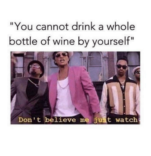 "Dont Believe Me Just Watch: ""You cannot drink a whole  bottle of wine by yourself""  Don't believe me just watch"
