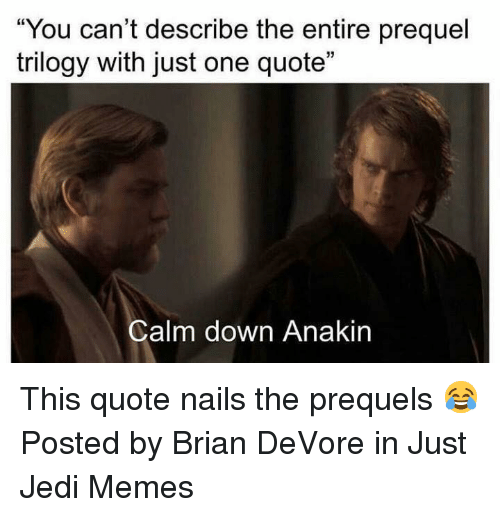 "Jedi, Memes, and Star Wars: ""You can't describe the entire prequel  trilogy with just one quote""  Calm down Anakin This quote nails the prequels 😂  Posted by Brian DeVore in Just Jedi Memes"